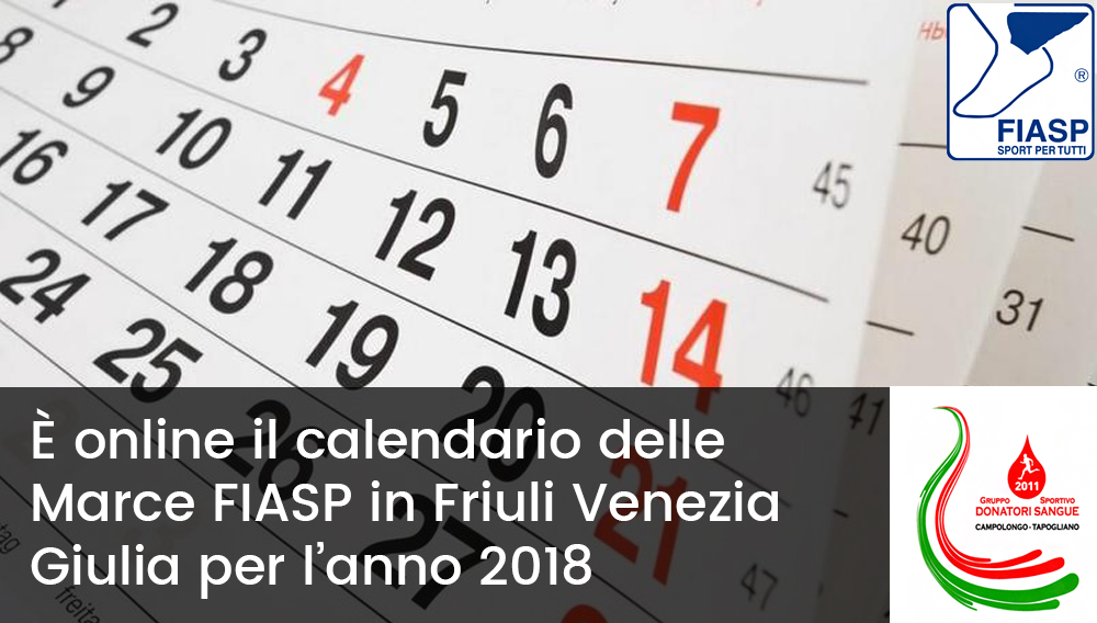 Calendario Fiasp Fvg.Calendario 2018 Marce Fiasp G S D S Campolongo Tapogliano