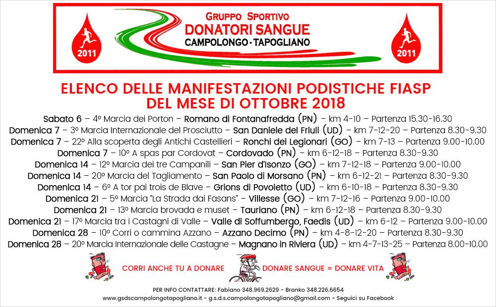 Fiasp Calendario 2020.Manifestazioni Podistiche Del Mese Di Ottobre 2018