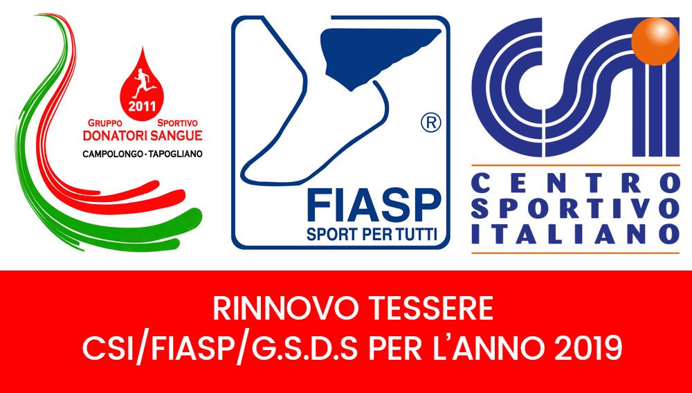 Calendario Fiasp Fvg.Rinnovo Tessere Csi Fiasp E G S D S Per L Anno 2019